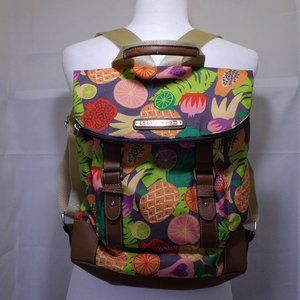 Lilly Bloom Floral Canvas Backpack w/3-Zip Pockets